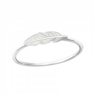 925 Sterling Silver Feather Ring Solid Silver Cute Gift Present • 7.45£