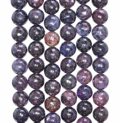 $8.99 • Buy 7-8mm Dark Purple Lepidolite Gemstone Grade Aa Round Loose Beads 7