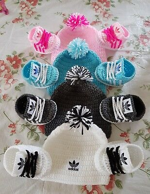 Handmade Crochet Baby Shoes And Hat Set For Baby 0-3 Months • 8.99£