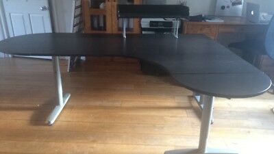 Extended Ikea Corner Desk (black-brown) And Organiser (can Be Sold Separately) • 220£