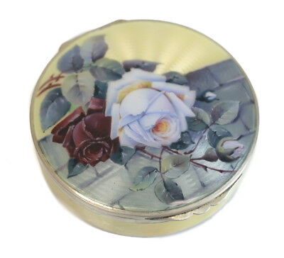Charming German Sterling Silver & Guilloche Enamel Mirror Compact Case • 257.90£
