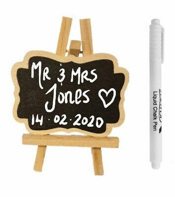 Mini Blackboard With Chalk Pen Sign Wedding Note Chalk Board With Stand Clip • 12.99£