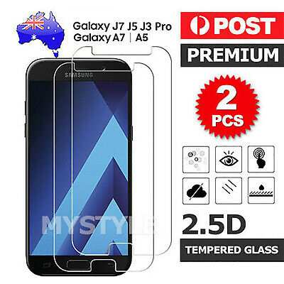 AU3.95 • Buy 2X 9H Tempered Glass Screen Protector For Samsung Galaxy A5 A7 2017 J3 J5 J7 Pro