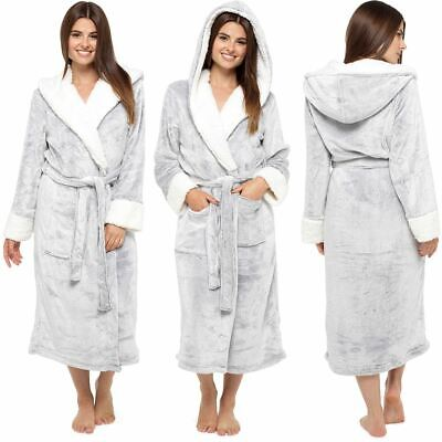 £22.99 • Buy Womens Ladies Dressing Gown Hooded Fleece Lined Fluffy Snuggle Soft Warm Robe
