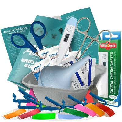 £15.99 • Buy Puppy Whelping Kit XS Cord Clamps Thermometer Sterile Forceps Scissors Aspirator