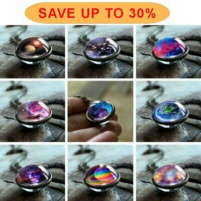 $0.99 • Buy Glow In The Dark Galaxy System Double Sided Glass Dome Planet Necklace Pendant
