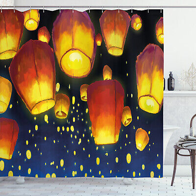 Lantern Shower Curtain Floating Fanoos Chinese Print For Bathroom • 28.19£