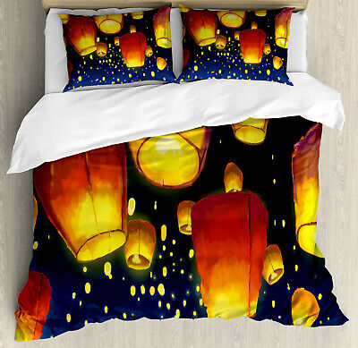 Lantern Duvet Cover Set With Pillow Shams Floating Fanoos Chinese Print • 72.50£