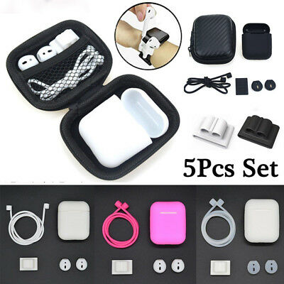 AU6.54 • Buy For AirPods Accessories Silicone Cover Case+Anti Lost Strap+Ear Cover Hook Set