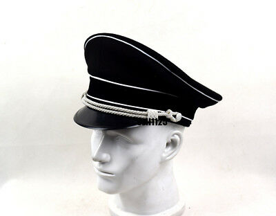 WWII German Officer Wool Hat W White Pipe Silver Chin Cord W Hat Badge 59cm • 28.50£