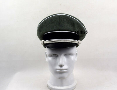 WWII German Officer Wool Hat&Cap W White Pipe Silver Chin Cord W Hat Badge 57cm • 28.50£