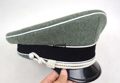 WWII German Officer Wool Hat&Cap W White Pipe Silver Chin Cord W Hat Badge 60cm • 28.50£