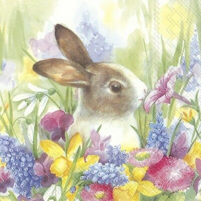 4 X Single Paper Table Napkin/Decoupage/Craft/Easter/Bunny In The Meadow • 1.25£
