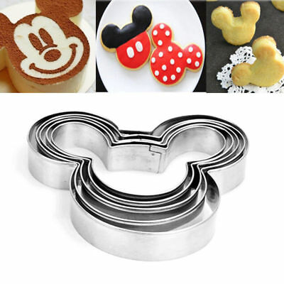 5Pcs Mickey Mouse Biscuit Cutter Mould Cake Cookies Pastry Mold DIY Baking Tool • 2.59£