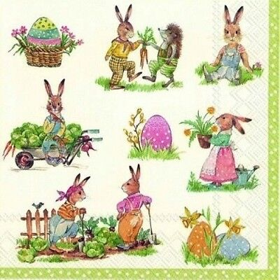 4 X Single Paper Table Napkin/Decoupage/Craft/Easter/Rabbits/Stories Of Bunnies • 1.25£