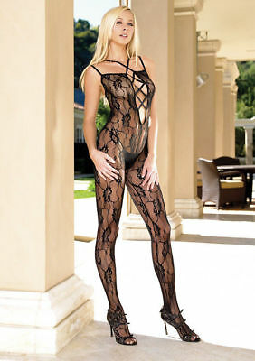 Black Lace Bodystocking Leg Avenue Strappy Sheer Catsuit Sexy Lingerie 8-10-12  • 7.99£