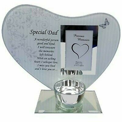 £12.92 • Buy Heart Shape Glass Photo Frame Special Dad Memorial Tealight Candle Holder Plaque