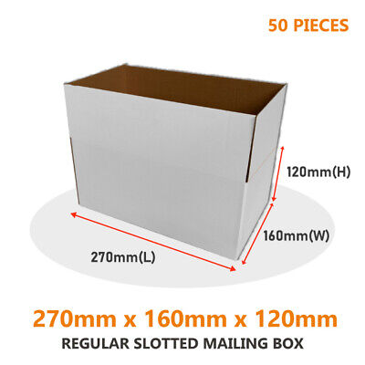 AU35.23 • Buy 50x Regular Slotted Mailing Boxes 270 X 200 X 95mm For Large Satchel/AusPOST 3kg