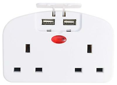 European Travel Adaptor Double Wall Socket With 2 X USB Chargers Multibuy Save • 11.99£