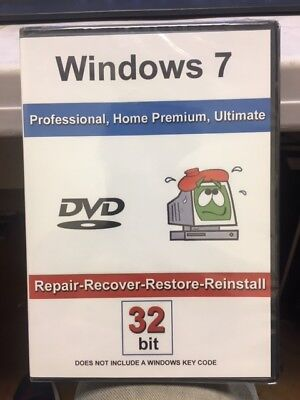 Windows 7: Repair-Recover-Restore-Reinstall 32 Bit Bootable DVD • 9.30£