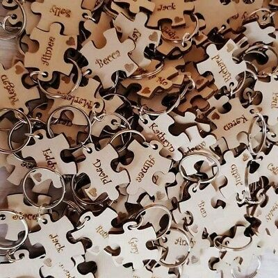 Puzzle Piece Favours, Personalised Keyrings, Wooden Wedding Favours, Wedding • 1.35£