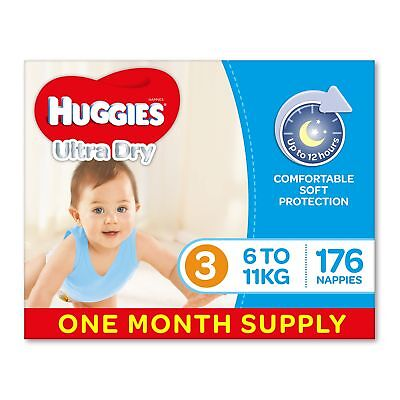 AU63.09 • Buy Huggies Ultra Dry Nappies Boys Size 3 Crawler 6-11kg 176 Count One-Month Supply