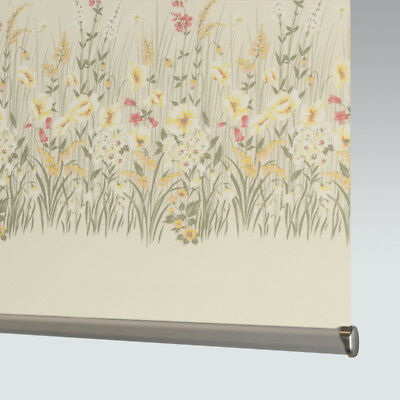 Made To Measure Patterned Dim-out Complete Roller Blind - Morning Blossom • 46£
