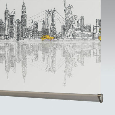 Made To Measure Patterned Dim-out Complete Roller Blind - Skyline New York • 46£