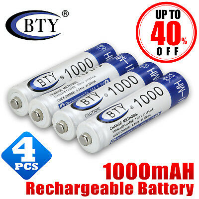 AU6.45 • Buy 4X GENUINE BTY® AAA Rechargeable Battery Recharge Batteries 1.2V 1000mAh Ni-MH