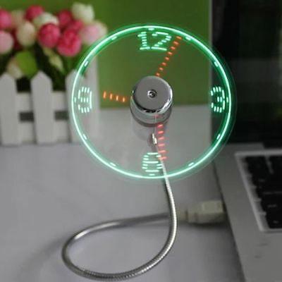AU27.68 • Buy Fan Clock USB Mini Flexible LED Light Desktop Neon Spinning Time Display Lamp