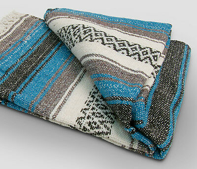 £11.32 • Buy #11 Turquoise  Mexican Falsa Blanket Great Beach Picnic Yoga Open Road Bed Throw