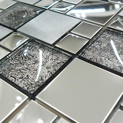 £11.90 • Buy Onyx Black Stainless Steel With Glass Mosaic Tiles Sheet For Wall And Floor