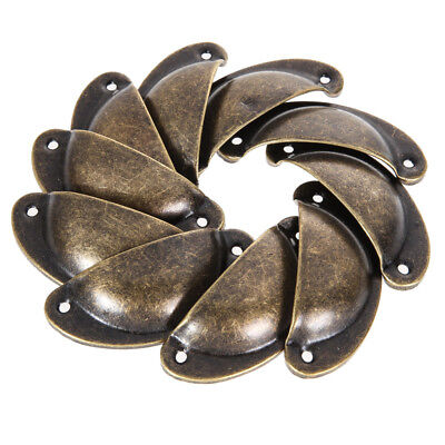 £3.65 • Buy 12PCS Vintage Bronze Shell Pull Cup Handles Cabinet Drawer Kitchen Cupboard Knob