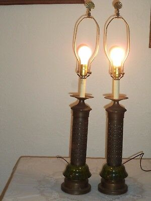 $77 • Buy Beautiful Pair Of Vintage Green Glass & Gothic Candlestick Metal Table Lamps