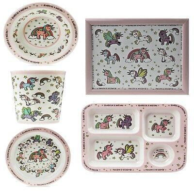 Little Stars Unicorn Lap Tray Plate Bowl Sectioned Food Serving Tray For Kids • 6.49£