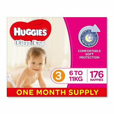 AU63.09 • Buy Huggies Ultra Dry Nappies Girls Size 3 Crawler 6-11kg 176 Count One-Month Supply