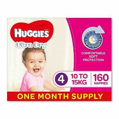 AU73.26 • Buy Huggies Ultra Dry Nappies Girls Size 4 Toddler 10-15kg 160 Count
