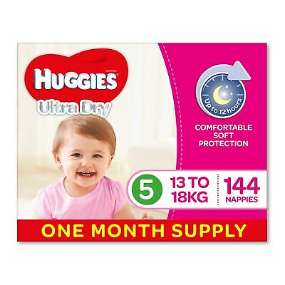 AU78.21 • Buy Huggies Ultra Dry Nappies Girls Size 5 Walker 13-18kg 144 Count One-Month Supply