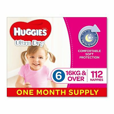AU76.64 • Buy Huggies Ultra Dry Nappies Girls Size 6 Junior 16kg+ 112 Count One-Month Supply