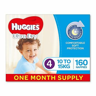 AU77.17 • Buy Huggies Ultra Dry Nappies Boys Size 4 Toddler 10-15kg 160 Count One-Month Supply