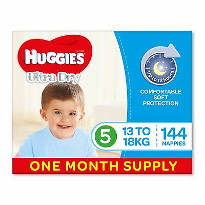 AU82.17 • Buy Huggies Ultra Dry Nappies Boys Size 5 Walker 13-18kg 144 Count One-Month Supply