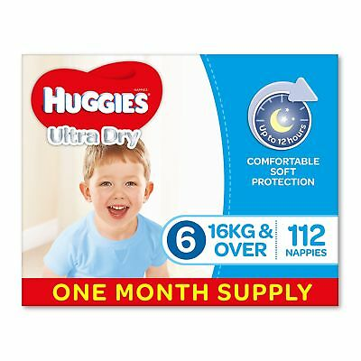 AU70.46 • Buy Huggies Ultra Dry Nappies Boys Size 6 Junior 16kg+ 112 Count One-Month Supply
