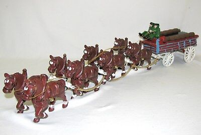 $ CDN83.40 • Buy Vtg Budweiser Anheuser Busch Cast Iron Carriage Clydesdale Horse Beer Wagon Cart