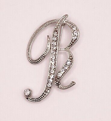 £4.20 • Buy Diamante Silver Initial Letter R Fashion Brooch Pin Brand New FREE P&P