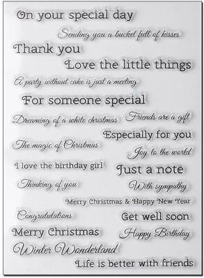 NEW Multi Sentiments Clear Stamp Set - Contains 22 Various Sentiment Stamps • 5£