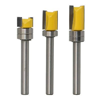 3pcs Mortise Template Flush Trim Router Bit Milling Cutter With Bearing 6mm • 9.20£