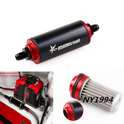 black universal aluminum racing fuel filter with an6 fittings&100 micron  element • 16 14$