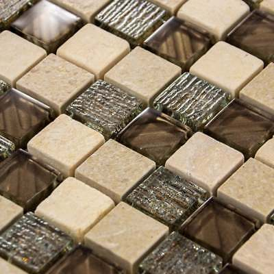 Luxury Textured Brown Iridescent Glass & Ivory Stone Mosaic Wall Tiles Sheet 8mm • 7.95£
