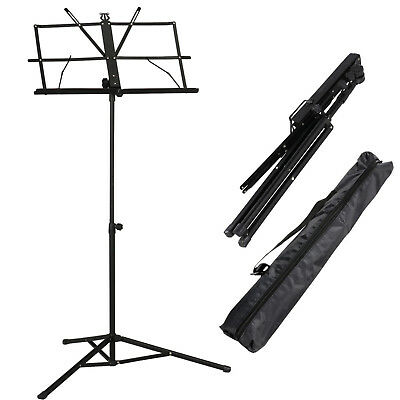 Adjustable Metal Sheet Music Stand Holder Folding Foldable With Black Carry Bag • 6.45£