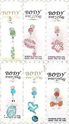 *uk* 316l Surgical Stainless Steel Crystal Rhinestone Belly Bars. Various Styles • 3.49£